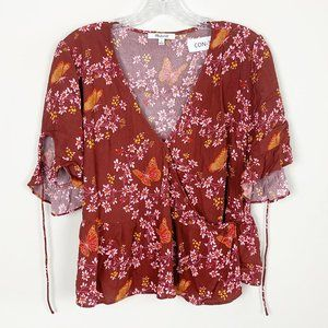 Madewell | floral print flutter sleeve wrap blouse